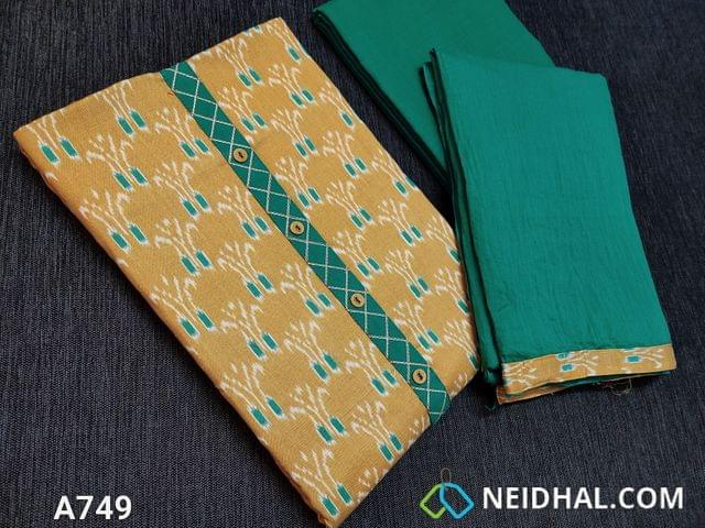 CODE A749 : Light Fenu Greek Yellow Ikkat printed Cotton unstitched Salwar material, with yoke patch, daman patch, Turquoise Green cotton bottom, Turquoise Green mul Cotton dupatta with taping