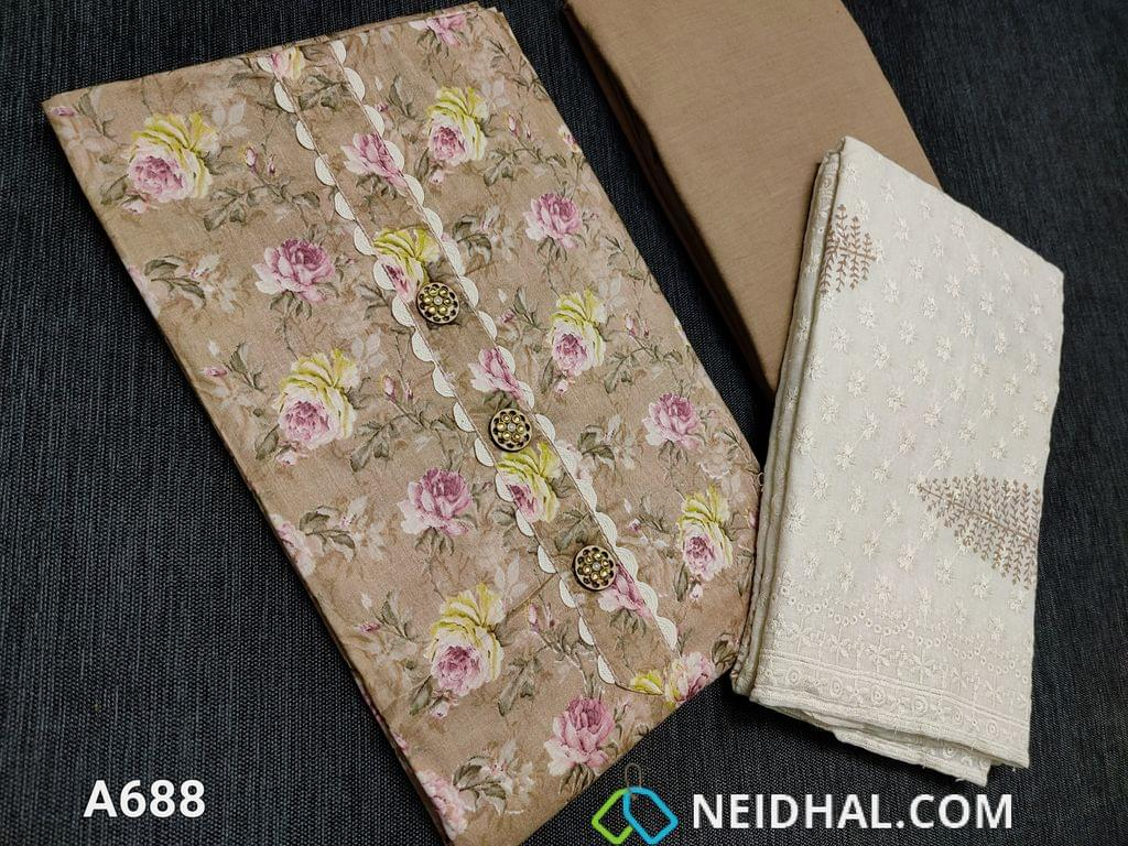 CODE A688: Dark Beige Floral printed unstitched Salwar material with yoke patch work and wooden buttons, lace tapings on daman, soft thin cotton bottom can be used as lining (if you are comfortable can be used as bottom), Soft cotton dupatta with block prints and all over embroidery work and tapings.