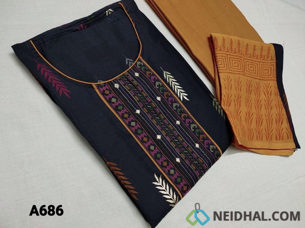CODE A686: Premium Navy Blue Modal fabric(flowy and soft fabric) unstitched Salwar material with yoke patch work faux mirror and thread work, Golden prints, daman patch work, Fenu Greek Yellow cotton bottom, Fenu Greek Yellow chiffon dupatta with block prints and taping