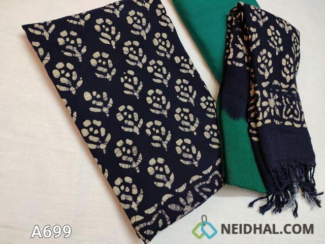 CODE  A699 : Batik Printed Blue Linen Cotton Unstitched salwar material(requires lining) with batik prints, Green cotton bottom, batik printed dual color lenin cotton dupatta with tassels.