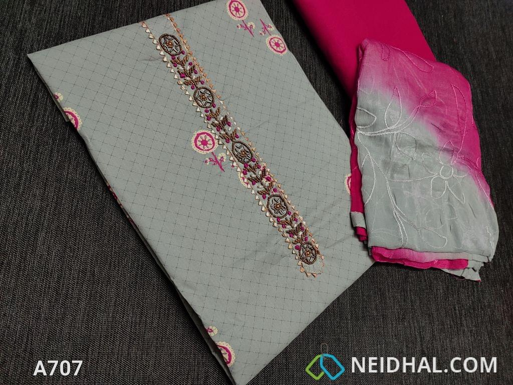 CODE A707 : Printed Sober Grey dobby Cotton unstitched Salwar material(requires lining) with bead work on yoke, cotton bottom, Heavy embroidery work on chiffon dupatta with tapings