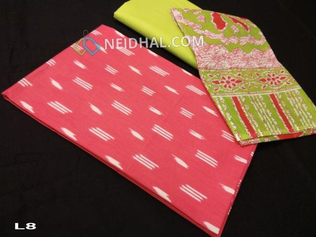 CODE L8 : Printed Pink  Cotton unstitched salwar material(requires lining), Light Green cotton bottom, Printed mul cotton dupatta(requires taping)