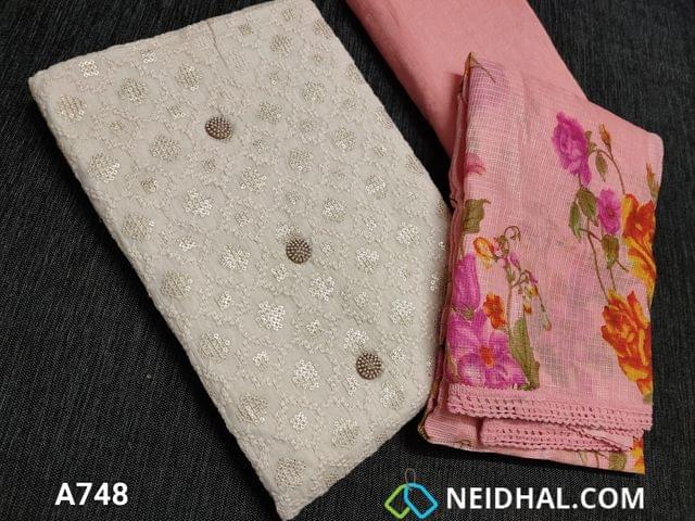 CODE A748 : Designer Half White Soft Cotton Unstitched Salwar material(requires lining) with heavy thread and sequins work on front side, plain back, Peach cotton bottom, Digital printed Peach Moonga (Netted) dupatta with lace tapings