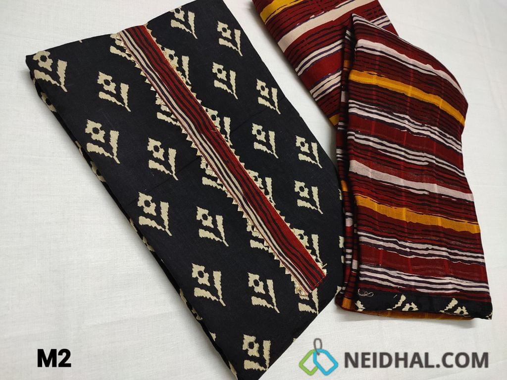 CODE M2 : Printed Black soft cotton Unstitched Salwar material, Yoke patch with gota lace, Daman patch with gota lace, Block printed Cotton bottom, Block printed mul cotton dupatta with taping