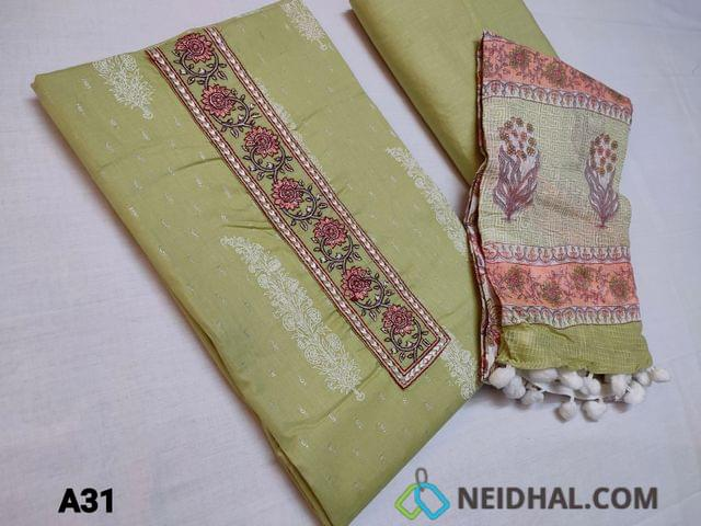 CODE A31 : Olive Green Cotton unstitched Salwar material(thin fabric requires lining) with all over prints and Silver zari work, Embroidery work on yoke, thin cotton fabric can be used as lining or if you are comfortable can be used as bottom, Printed mul cotton duaptta with pom pom tapings