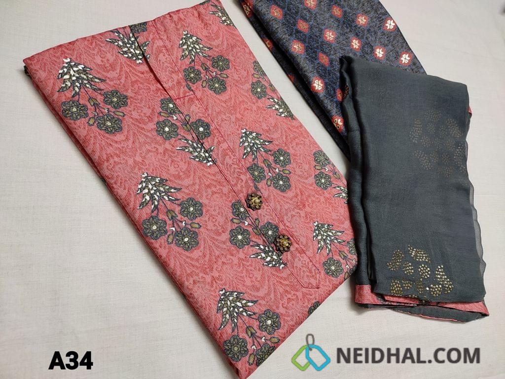 CODE A34 : Printed Pink Modal fabric(flowy fabric) unstitched Salwar material, fancy buttons on yoke, Golden prints, Printed Blueish Grey modal fabric bottom, Emboss Foil work on Grey Chiffon dupatta with tapings