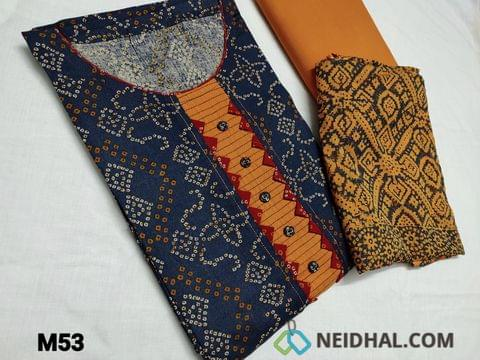 CODE M53 :  Bandhani printed Blue cotton unstitched Salwar material(requires lining) round neck, yoke patch with fancy buttons, Fenu Greek Yellow cotton bottom, Block printed Yellow chiffon dupatta(TAPING NEEDS TO BE STITCHED)