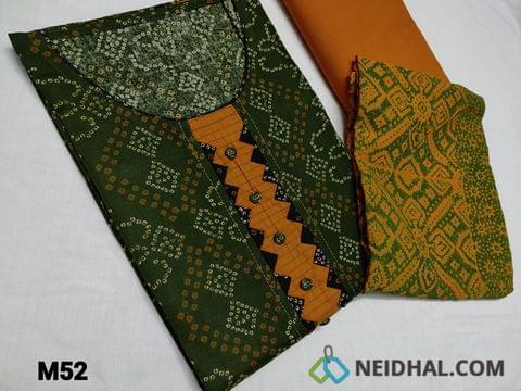 CODE M52 :  Bandhani printed Green cotton unstitched Salwar material(requires lining) round neck, yoke patch with fancy buttons, Fenu Greek Yellow cotton bottom, Block printed Yellow chiffon dupatta(TAPING NEEDS TO BE STITCHED)