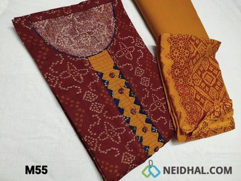CODE M55 :  Bandhani printed Maroon cotton unstitched Salwar material(requires lining) round neck, yoke patch with fancy buttons, Fenu Greek Yellow cotton bottom, Block printed Yellow chiffon dupatta(TAPING NEEDS TO BE STITCHED)