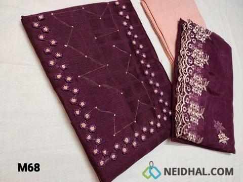 CODE M68 : Designer Beetroot Purple Jaquard Silk Cotton unstitched Salwar material(coarse fabric requires lining) with bullion rose work and french knot work on yoke, peach silk cotton bottom, Organza dupatta with heavy thread work and cut work tapings.