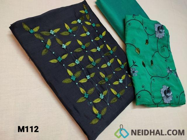 CODE M112 : Designer Navy Blue Fancy Silk unstitched Salwar material(thin fabric requires lining) with Bullion rose work, thread embroidery and French work on yoke, Turquoise Green silk cotton bottom, Turquoise Green Chiffon dupatta with heavy multicolor floral thread embroidery work and taping