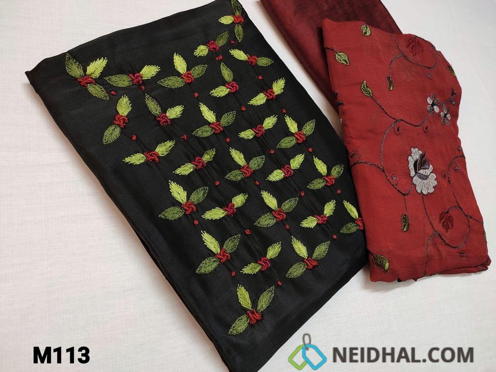 CODE M113 : Designer Black Fancy Silk unstitched Salwar material(thin fabric requires lining) with Bullion rose work, thread embroidery and French work on yoke, Maroon silk cotton bottom, Maroon Chiffon dupatta with heavy multicolor floral thread embroidery work and taping
