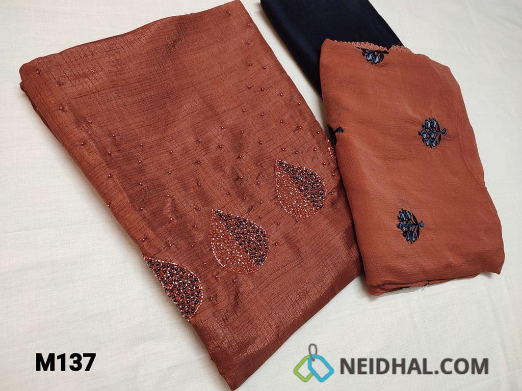 CODE M137 : Designer Dark brick Red Fancy silk unstitched Salwar material(thin fabric requires lining) with colorful cut bead and pearl bead work on yoke, Navy blue silk cotton bottom, Dark Brick Red Chiffon dupatta with beautiful embroidery patterns and lace taping