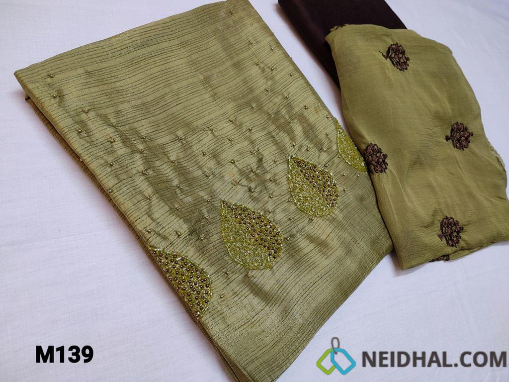 CODE M139 : Designer Dark Cardamom Green Fancy silk unstitched Salwar material(thin fabric requires lining) with colorful cut bead and pearl bead work on yoke, Dark Brown silk cotton bottom, Dark Cardomom Green Chiffon dupatta with beautiful embroidery patterns and lace taping