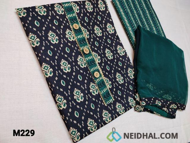 CODE M229 : Printe Blue Soft unstitched Salwar material(thin fabric requires lining) with beautiful floral prints, simple yoke with gota lace work, Printed cotton bottom, Soft thin chiffon dupatta with taping