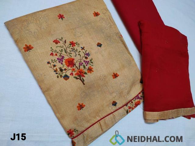 CODE J15 : Printed Beige Cambric Cotton unstitched Salwar material(requires lining) with daman piping, Red Cotton bottom, Red Chiffon dupatta with taping