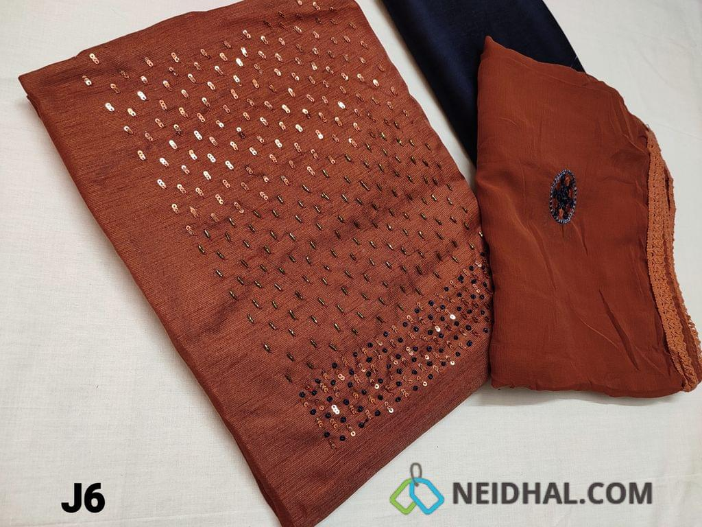 CODE J6 : Brick Red Fancy Silk Cotton Unstitched Salwar material(Coarse Fabric Requires lining) Bead , Sequins and French knot work on yoke, Contrast piping on daman, Navy Blue silk cotton bottom, chiffon dupatta with embroidery work all over and lace tapings