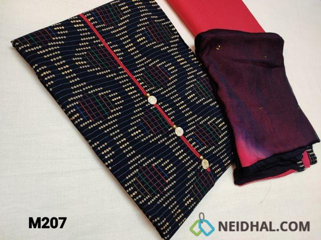 CODE M207 : Navy Blue printed modal fabric(flowy fabric) unstitched Salwar material, with golden prints, simple yoke with fancy buttons, pink cotton bottom, dual color chiffon dupatta with golden emboss work and taping.
