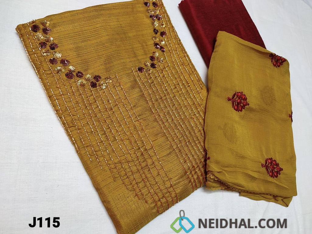 CODE J115 :Designer Sober Golden Yellow Fancy Jaquard Silk Cotton with Colorful sequins and cut bead work on yoke (Shiny and thin fabric requires lining, textured fabric) , contrast piping on daman, Maroon Silk cotton bottom, Embroidered Chiffon dupatta with lace tapings