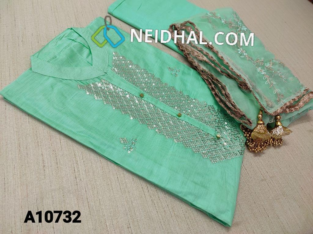 CODE A10732 : Designer Turquoise Blue Soft Silk Cotton unstitched salwar material(requires lining) with heavy sequence work on front side, neck stitch, Turquoise Blue cotton bottom,Heavy Zari and thread embroidery work on organza dupatta with fancy tapings and tassels.