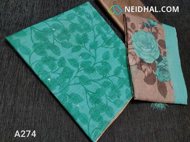 CODE A274 :Designer Printed Turquoise Green Linen Unstitched Salwar material with faux mirror work on front side, zari borders for detailing, Golden Beige silk cotton bottom, Digital Floral printed Linen dupatta with zari border and tassels