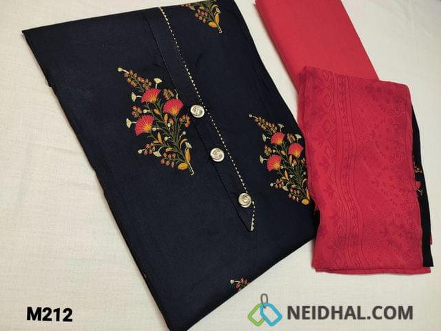 CODE M212: Printed Blue Rayon fabric unstitched Salwar material (flowy fabric) with fancy buttons, gota lace work on daman, Dark peachish pink Cotton bottom, Block printed chiffon dupatta with tapins
