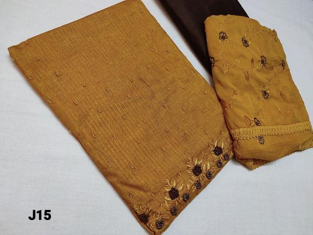 CODE J15 :Designer Sober Golden Yellow Fancy Jaquard Silk Cotton with Colorful sequins and Sugar bead  and bullion rose work on yoke (Shiny and thin fabric requires lining, textured fabric) , contrast piping on daman, Brown Silk cotton bottom, Embroidered Chiffon dupatta with lace tapings