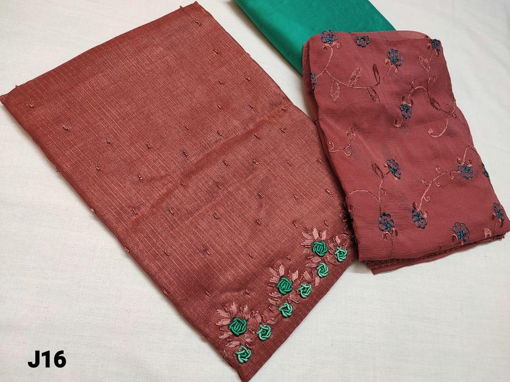CODE J16 : Designer Sober Onion Pink Fancy Jaquard Silk Cotton with Colorful sequins and sugar bead and bullion rose work on yoke (Shiny and thin fabric requires lining, textured fabric) , contrast piping on daman, Turquoise Silk cotton bottom, Embroidered Chiffon dupatta with lace tapings