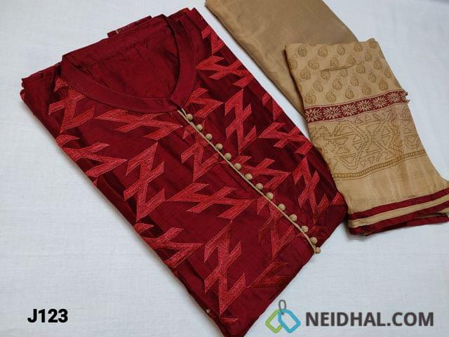 CODE J123 : Designer Dark Maroon Silk Cotton unstitched Salwar material with mandarin Collar, Potli buttons on yoke, Heavy embroidery work on front side, Plain back, Beige Silk Cotton bottom, Block printed Beige Chiffon dupatta with Block prints and taping