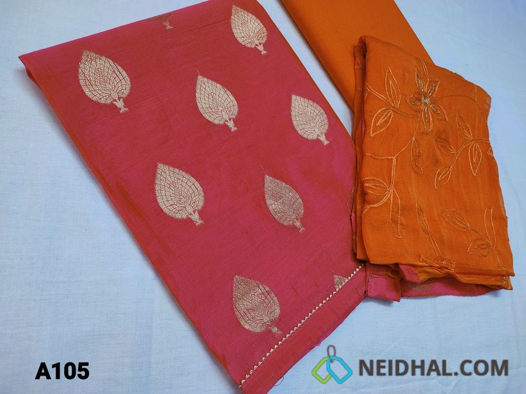 CODE A105 : Pink with dual shade Silk Cotton unstitched salwar material(thin fabric requires lining) with zari thread embroidery work on front side, gota lace work on daman, plain back, Orange cotton bottom, Orange chiffon dupatta with heavy thread and zari embroidery work and taping
