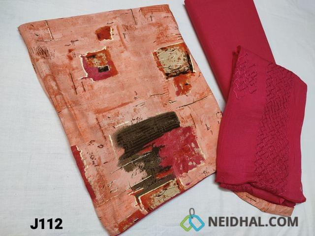CODE JL12 :  Printed Rayon Fabric unstitched Salwar material (Soft and Flowy Fabric) , Pink cotton bottom, Pink Chiffon dupatta with heavy thread work and taping