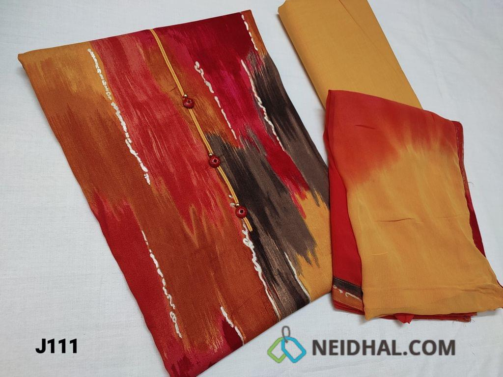 CODE JL11 : Abstract Printed Rayon Fabric unstitched Salwar material (Soft and Flowy Fabric) , Fenu Greek Yellow cotton bottom, Dual Chiffon dupatta with taping