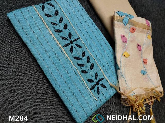 CODE M284 : Thread Woven Blue Spun Cotton unstitched salwar material(requires lining) with Applique work on yoke, light beige cotton bottom, Colorful Applique work on fancy silk cotton dupatta(tapings needs has to be stitched)