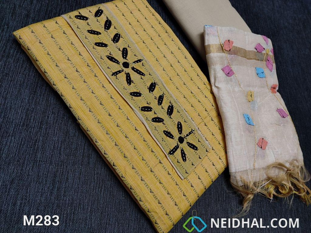 CODE M283 : Thread Woven Yellow Spun Cotton unstitched salwar material(requires lining) with Applique work on yoke, light beige cotton bottom, Colorful Applique work on fancy silk cotton dupatta(tapings needs has to be stitched)