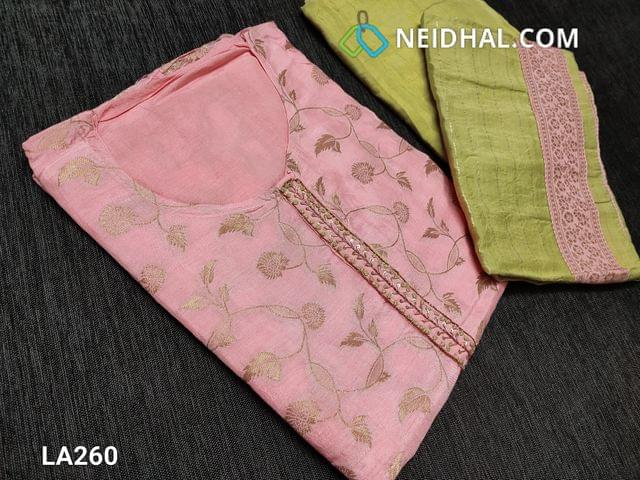 CODE LA260 : Designer Baby Pink Dola Silk Unstitched Salwar material(requires lining) with zari Weaving patterns on front side, french knot and cut bead work on yoke, round neck, plain  back, green santoon bottom, Dola silk short width dupatta with brocade tapings