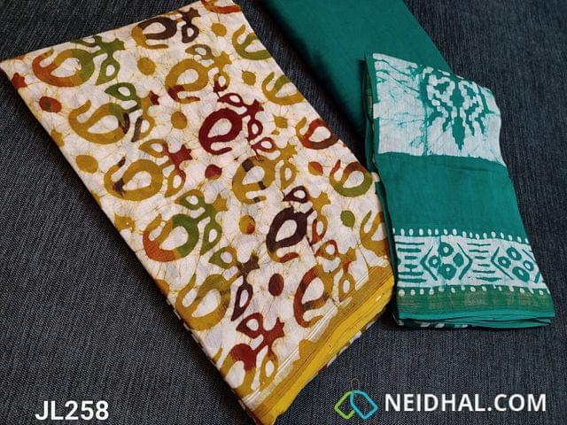 CODE JL258 : Designer Premium Chanderi Silk Cotton unstitched Salwar material(thin fabric requires lining) with original Wax batick dye patterns on both sides, Green soft cotton bottom, Original Wax batik dye patterns on Chanderi silk cotton dupatta(Taping needs to be stitched)