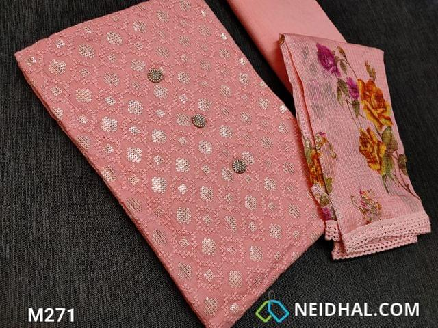 CODE M271 :Designer Peach Soft Cotton Unstitched Salwar material(requires lining) with heavy thread and sequins work on front side, plain back, Peach cotton thin fabric can be used as lining or if you are comfortable can be used as bottom, Digital printed Peach Moonga (Netted) dupatta with lace tapings