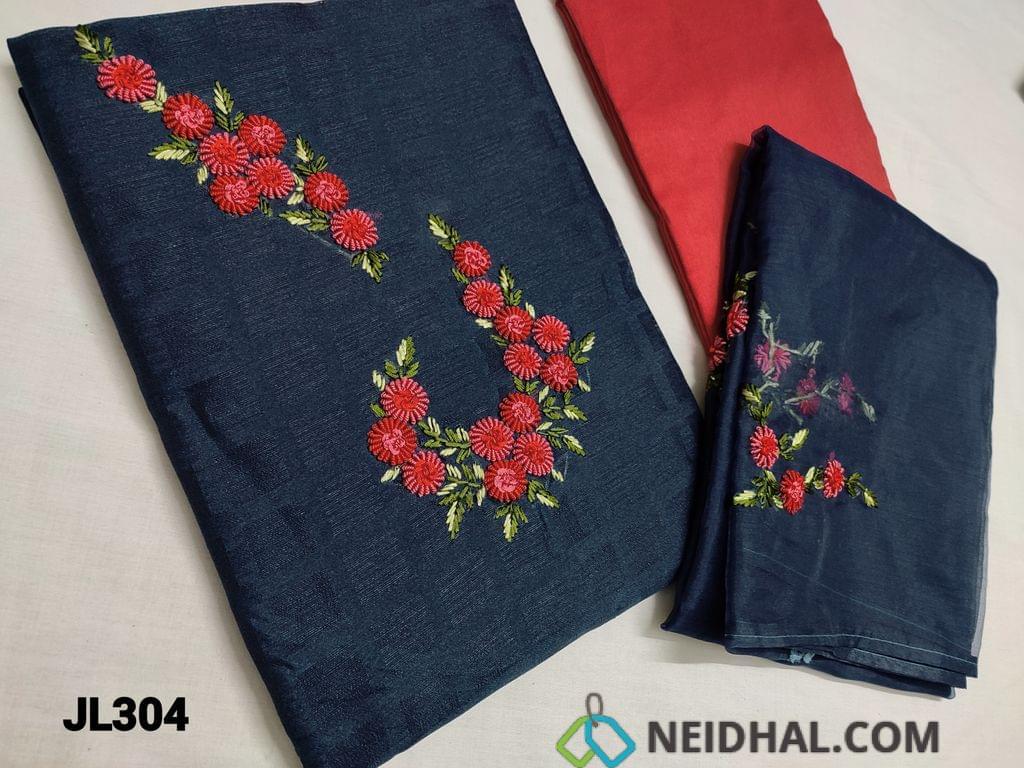 CODE JL304 : Designer Dark Navy Blue Jaquard Silk Cotton unstitched salwar material(coarse fabric, requires lining) with Spring Embroidery work on yoke, Red santoon or silk cotton bottom, Spring embroidery work on organza dupatta.