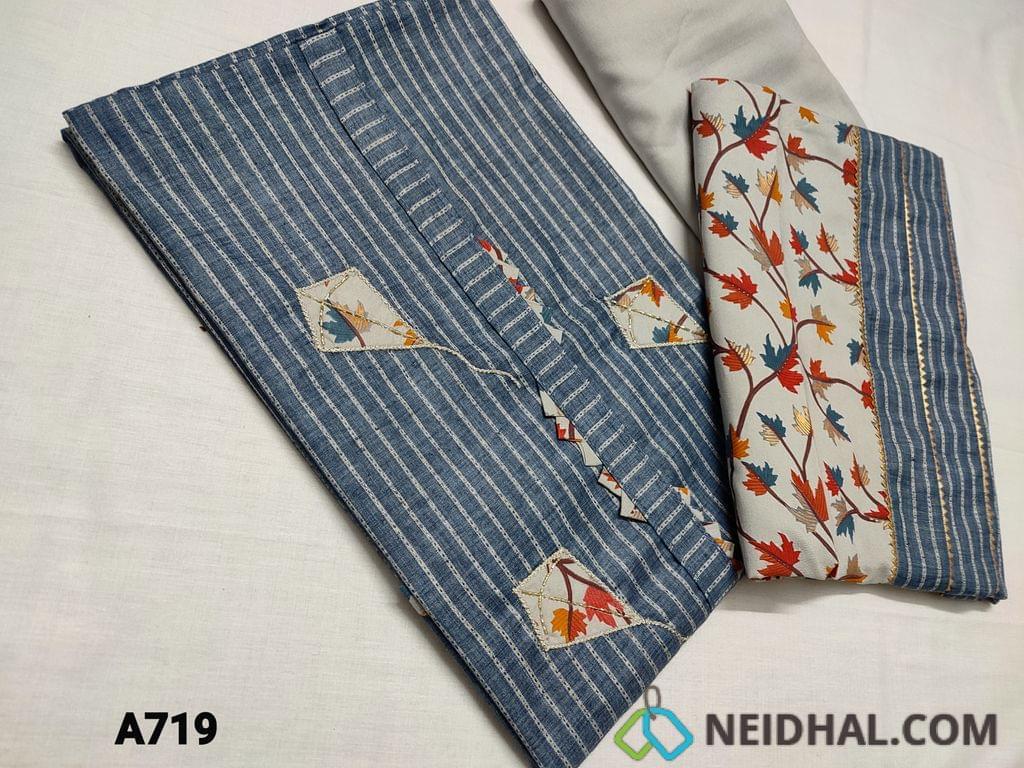 CODE A719 :Designer Denim Blue Spun Silk cotton unstitched Salwar material, with simple yoke, Patch work and cut bead work detailing, daman patch work, Santoon light Grey bottom, Printed and gota lace work short width dupatta