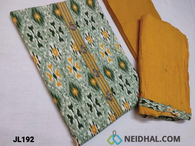 CODE JL192 :  Ikkat Printed cotton unstitched Salwar material with Yoke patch and fancy tassels, Daman piping, Fenu Greek Yellow cotton bottom, Crushed fenu greek yellow cotton dupatta with taping