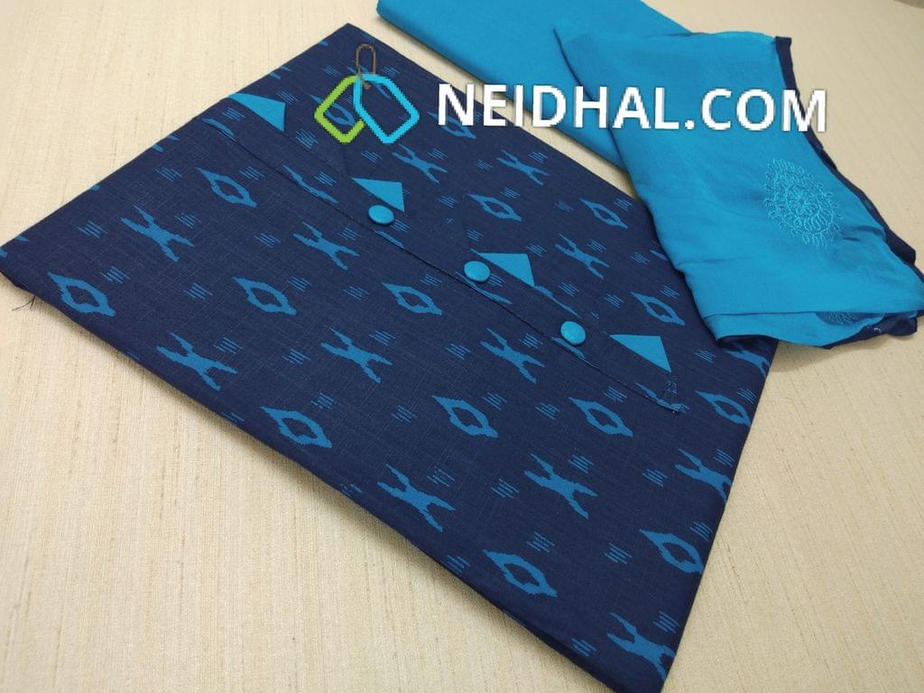 Ikkat printed Blue cotton unstitched Salwar material(requires lining) , Blue cotton bottom Blue chiffon dupatta  with heavy embroidery work and taping