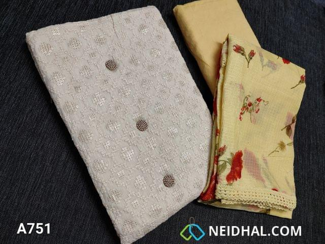 CODE A751 : Designer Half White Soft Cotton Unstitched Salwar material(requires lining) with heavy thread and sequins work on front side, plain back, Yellow cotton bottom, Digital printed Yellow Moonga (Netted) dupatta with lace tapings