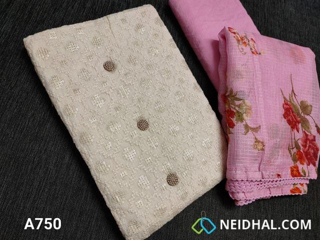 CODE A750 : Designer Half White Soft Cotton Unstitched Salwar material(requires lining) with heavy thread and sequins work on front side, plain back, Pink cotton bottom, Digital printed Pink Moonga (Netted) dupatta with lace tapings
