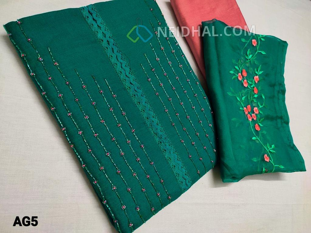 CODE AG5  : Designer Turquoise Green Spun Silk Cotton unstitched salwar material(requires lining) with bead, pipe and lace work on yoke, Pink Silk cotton bottom, embroidery organza dupatta with tapings.