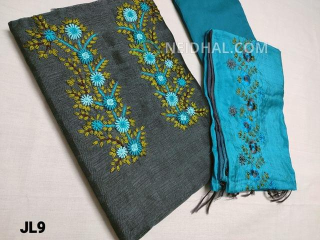 CODE JL9 : Designer Grey Jaquard Silk Cotton unstitched salwar material(coarse fabric, requires lining) with Spring Embroidery work and pearl bead work  on yoke, Blue santoon or silk cotton bottom, embroidery work on Silk Cotton dupatta.
