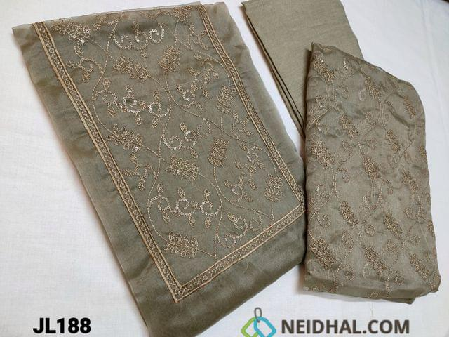 CODE JL188 : Designer Olive green and Grey mix Oraganza Unstitched Salwar material(thin fabric requires lining) with Heavy thread embroidery work on top, soft Santoon bottom, Organza dupatta with embroidery work