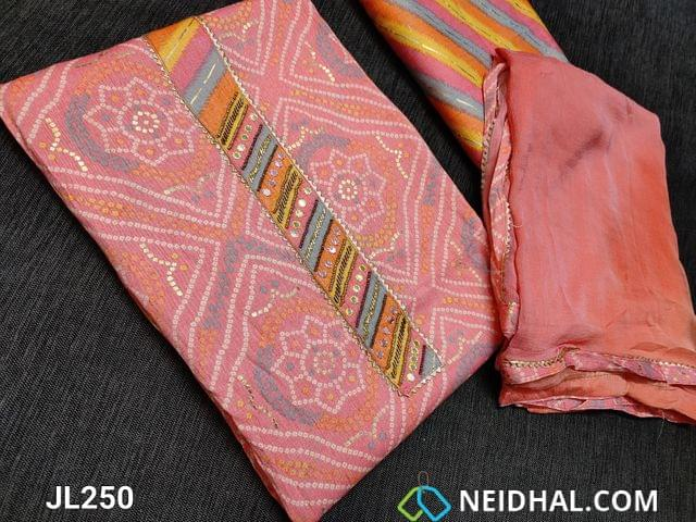 CODE JL250 : Designer Patola Printed Pink Liquid(flowy fabric) unstitched Salwar material(requires lining) with fancy bead and faux mirror work and gota work yoke, striped liquid fabric bottom, chiffon dupatta with tapings.