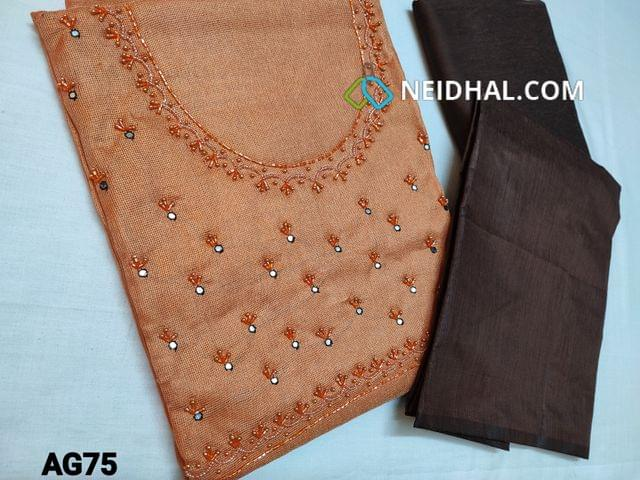 CODE AG75 : Peach Accord fabric (Netted, Coarse fabric requires lining) with faux mirror, sugar bead and cut bead work on yoke, Dark Brown silk cotton bottom, Plain Silk cotton dupatta with tassels