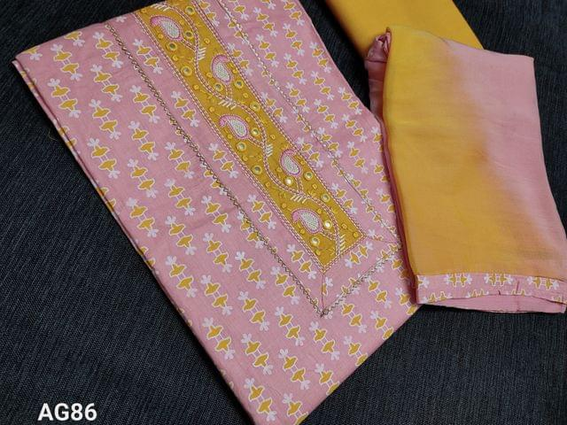 CODE AG86 : Printed Pink Unstitched Salwar material (Thin fabric Requires lining) Embroidery yoke patch, Thin Soft Yellow cotton bottom, Dual color Chiffon dupatta with taping