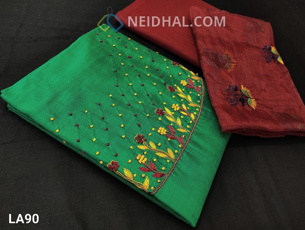 CODE LA90 : Premium Green Dupion Silk unstitched salwar material(requires lining) with embroidery and french knot work on yoke, maroon cotton bottom, embroidery work on short width organza dupatta